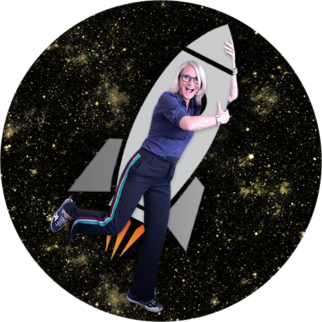 Mel Robbins on a rocketship